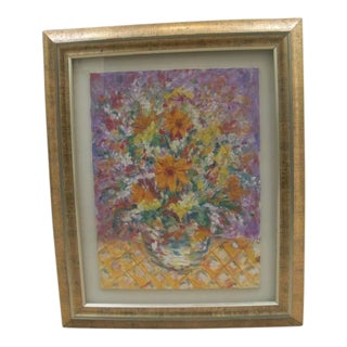 1980s Impressionist Style Floral Still Life Oil Painting, Framed For Sale