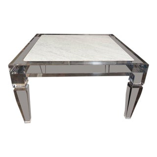 Custom Lucite Table with Carrera Marble Inset Top For Sale
