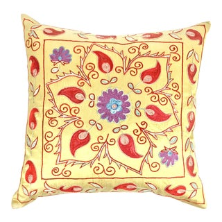 Vintage Silk Suzani Embroidered Pillow For Sale