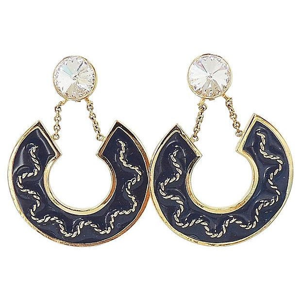 Metal 1980s Valentino Rivoli Blue Enamel Earrings For Sale - Image 7 of 7