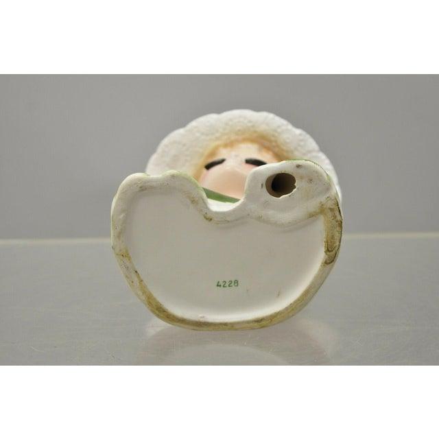 Vintage Lady Head Vase Japan 4228 Green Dress and Gloves White Hat Napco For Sale - Image 9 of 12
