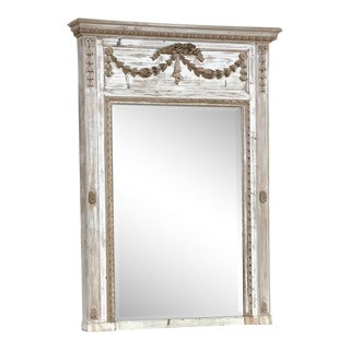 19th Century French Louis XVI Distressed Painted Trumeau For Sale