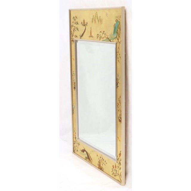 La Barge Reverse Painted Gold Leaf Rectangular Frame Decorative Mirror For Sale - Image 10 of 13