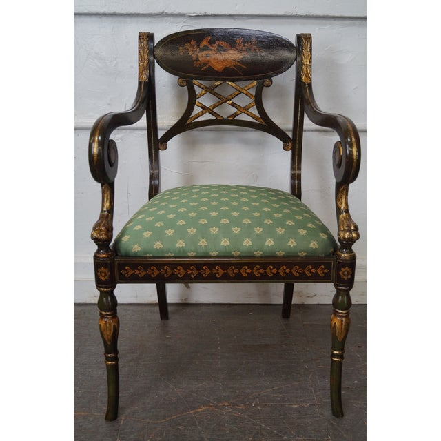 Hand painted regency style gilt accent arm chair by