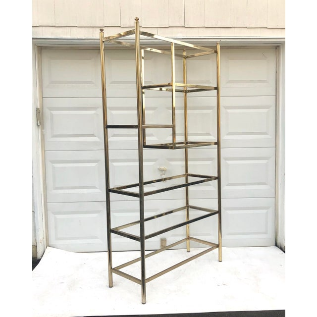 Mid-Century Modern Vintage Brass & Glass Bookcase Etagere For Sale - Image 3 of 11