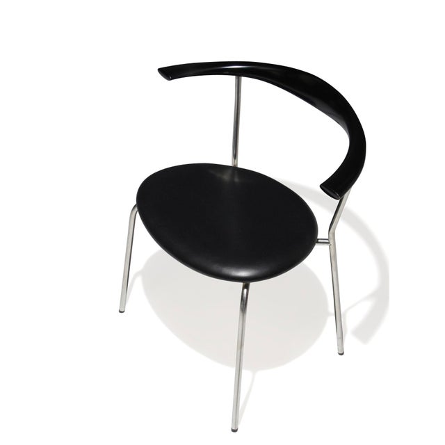 Set of 4 Hans Wegner PP701 Bull Horn Dining Chairs in Black Lacquer, Leather and Steel For Sale - Image 9 of 13