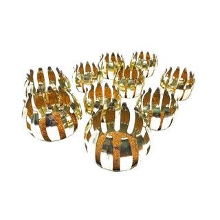1970s Hollywood Regency Brass Lotus Flower Coasters/Candle Holders - Set of 10 For Sale