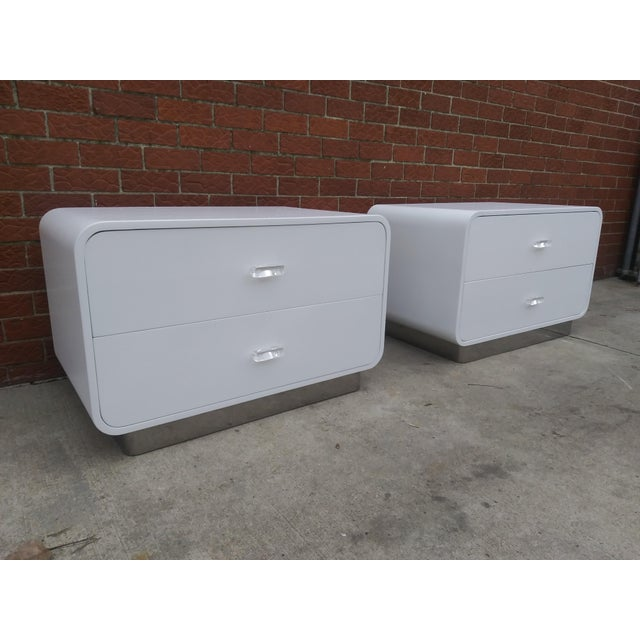1970s Vintage Space Age Karl Springer Style Nightstands-a Pair For Sale - Image 12 of 13