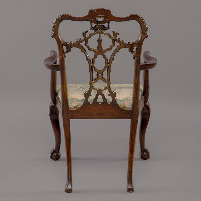Set 8 19th C Hand Carved Chippendale Tassel Back Dining Chairs For Sale - Image 10 of 13