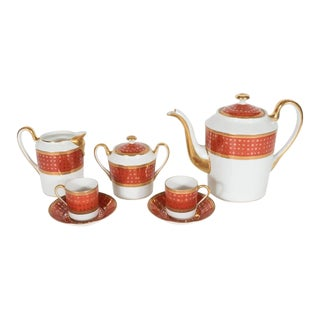 Mid-Century Giraud Limoge Coffee Service in Carnelian and 24-Karat Gold For Sale