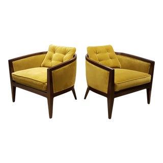 Harvey ProbberTea Green Velvet Lounge Chairs - A Pair