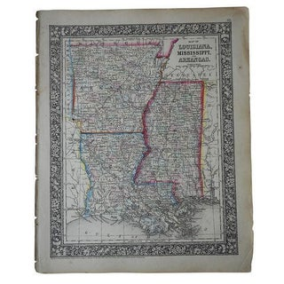 Antique Map of Louisiana, Mississippi & Arkansas For Sale