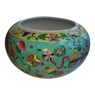 1930s Vintage Chinese Turquoise Cachepot For Sale