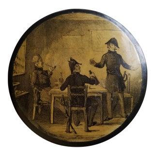 Victorian Decoupage Paper Mache Round Trinket Box