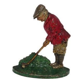 Antique Cast Iron Golfer/Putter Doorstop