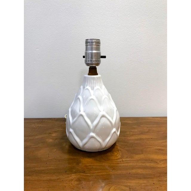 Ceramic Vintage Small Mid Century White Artichoke Table Lamp For Sale - Image 7 of 7