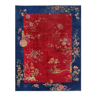 Red Color Fine Antique Chinese Art Deco 8'8'' X 11'5'' For Sale