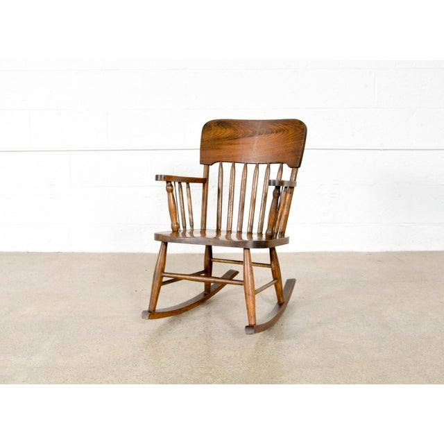 Antique Turn-of-the-Century Handcrafted Spindle Back Child's Wooden Rocking Chair For Sale - Image 4 of 8