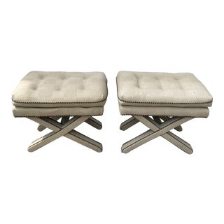 Upholstered X Based Benches - a Pair For Sale
