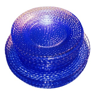 Murano Cobalt Blue Glass Plates - Set of 12 For Sale