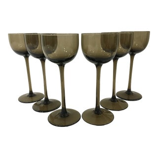 Vintage Warm Gray Smoked Glass Liqueur Goblets by Carlo Moretti - Set of 6 For Sale
