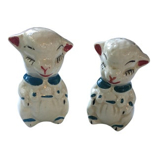 Vintage Blue Collared Lamb Salt & Pepper Shakers For Sale