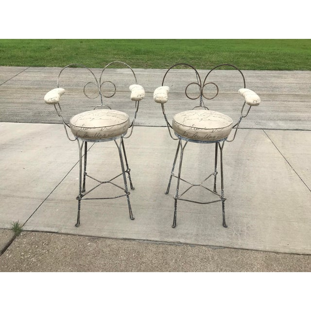 Contemporary 1920's Vintage Twisted Iron Ice Cream Parlor Stools - A Pair For Sale - Image 3 of 8