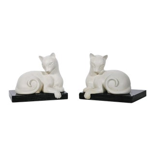 Art Deco White Alabaster Cat Bookends