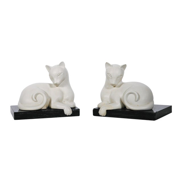 Art Deco White Alabaster Cat Bookends For Sale