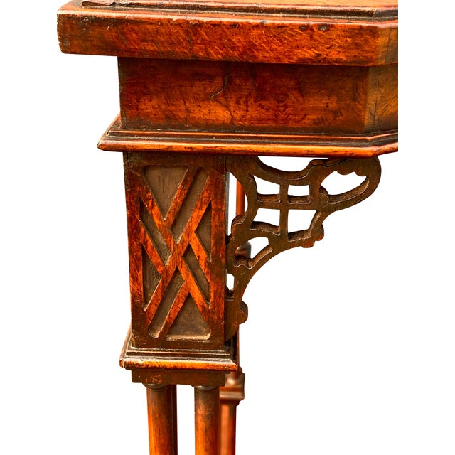 George III Style Burl Walnut and Mahogany China Table Attributed to Gillow For Sale - Image 9 of 11