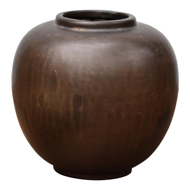 Bronze Glazed Ceramic Vase For Sale