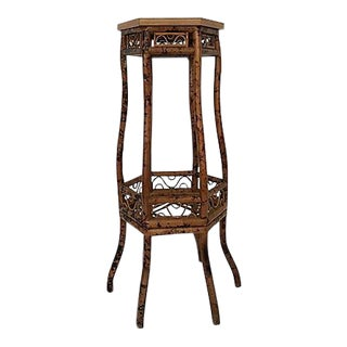 Chinese Chippendale Scorched Bamboo Stand For Sale