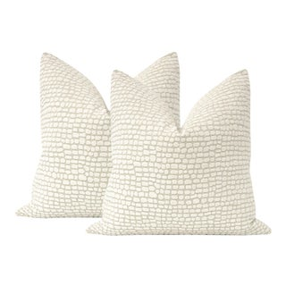 """22"""" Ocelot Chenille Pillows - a Pair For Sale"""