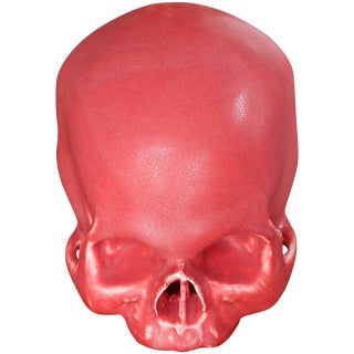 Anatomic Human Skull in Red Glazed Pottery as Art Sculpture Bookend For Sale