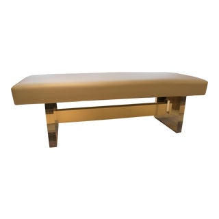 Modern Leather & Acrylic Bench For Sale