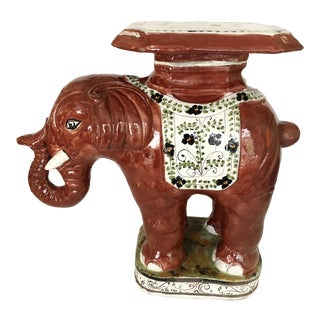 Vintage Glazed Terra Cotta Elephant Garden Stool For Sale