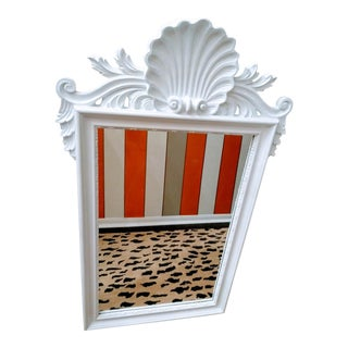 Palm Beach Regency White Gloss Large Serge Roche Style Clam Shell Topped Wall Mirror For Sale