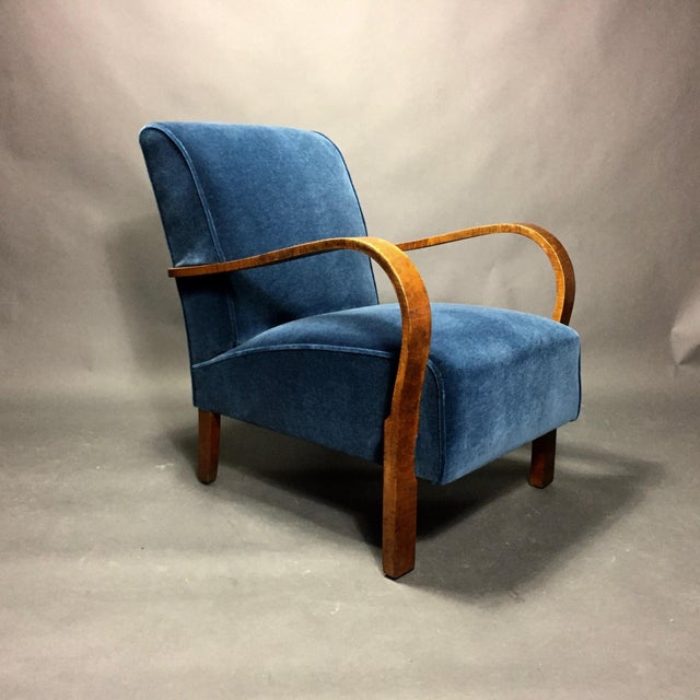 Mid-Century Modern Late 1930s Danish Oak Armchair, New Mohair Upholstery For Sale - Image 3 of 10