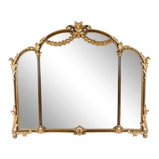 Antique Wood Framed Gilded Bevelled Hanging Mantel Mirror For Sale