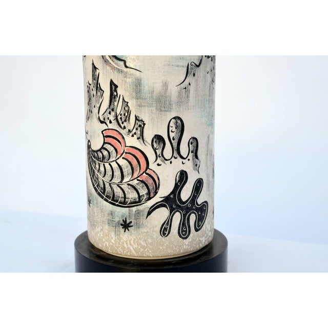Rare Hand Painted Cylinder Table lamp by Tye of California. Signed.