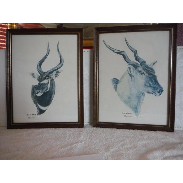 """""""Savannah Animal's"""" Pen & Ink Drawings - A Pair - Image 2 of 10"""