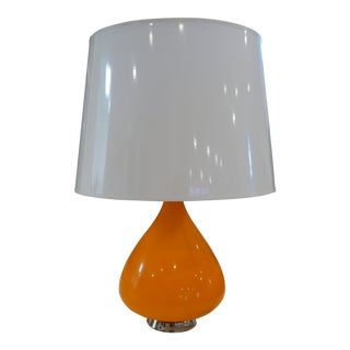High Gloss Modern Orange Lamp With Gloss Parchment Shade For Sale