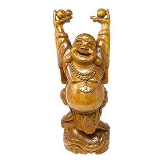 Vintage Sandalwood Hands Up Standing Laughing Buddha For Sale