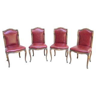 Early 19th Century Vintage Red Leather Gaming Chairs- Set of 4 For Sale