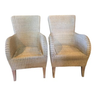 White-Washed Wicker Chairs - Pair For Sale