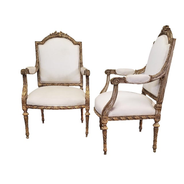 White C. 1910 French LXIV Style Pair of Arm Chairs For Sale - Image 8 of 8