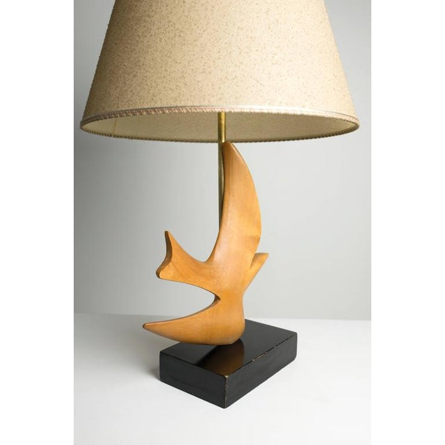"Mid-Century Modern Clark Voorhees ""Bird Lamp"" for Hansen with Original Shade, Pair Available For Sale - Image 3 of 8"