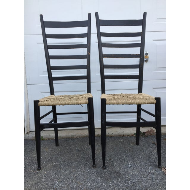 Vintage Mid Century Italian Ladder Back Chair- A Pair For Sale - Image 11 of 11