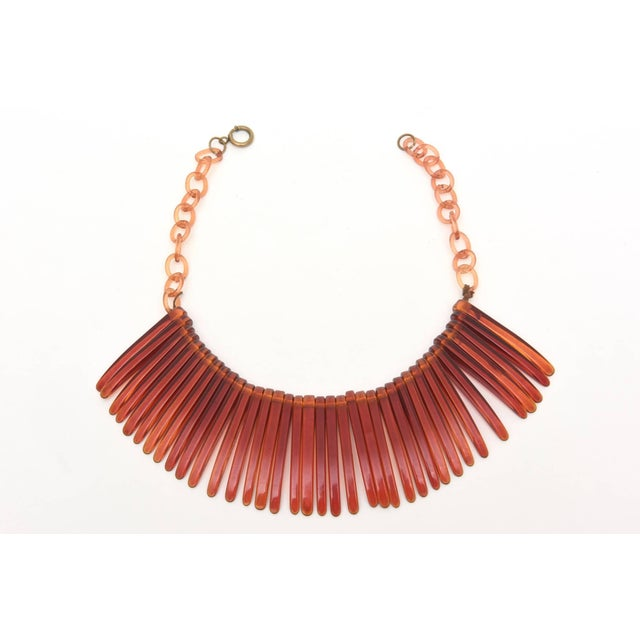 Vintage Tortoise Resin Fringe Collar Bib Necklace For Sale - Image 4 of 11