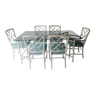 Vintage Mid-Century Meadowcraft Faux Bamboo Chinese Chippendale Style Dining Set - 7 Pieces For Sale